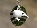 Kiwi bird on real leaf necklace. Silver