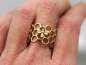 Mobile Preview: Bienen Waben Ring, antikgold emailliert
