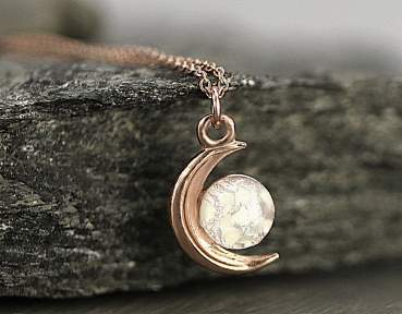 Tiny Rose Gold moon & opal necklace. Genuine vintage fire glass opal.