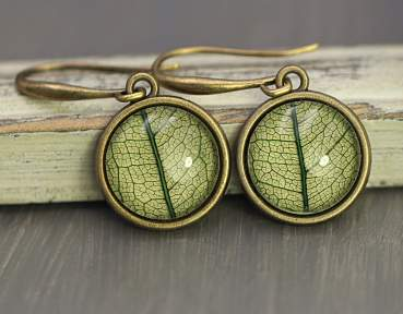 Real leaf earrings - green bronze - spring/summer