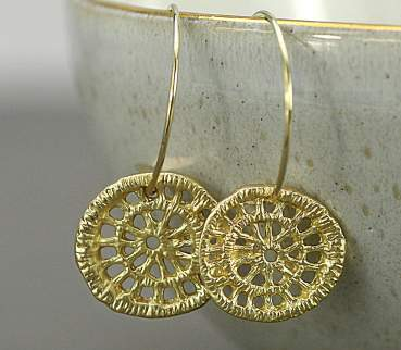 Gold dipped lace on gold filled earring hooks. Delicate earrings.