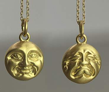 Happy Sad DOUBLE SIDED Moonface necklace gold over sterling