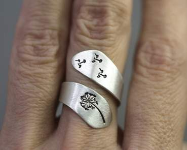 Sterling silver dandelion twisted ring,handstamped