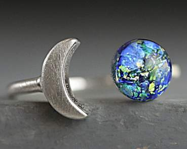 Sterling moon & opal ring II