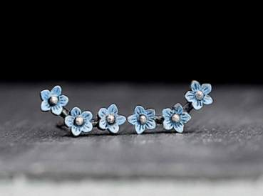 925 sterling silver Forget Me Not ear studs