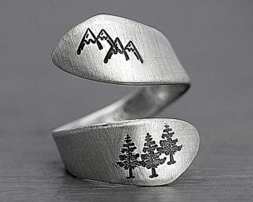 Hand stamped sterling mountain ring
