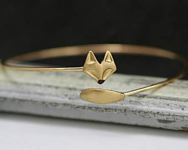 Delicate hand gilded tiny FOX bangle.