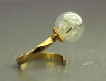 Real dandelion wrap around ring . Gold over sterling.