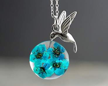 925 hummingbird & real flowers in resin necklace