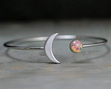Crescent Moon Bangle with vintage fire opal stone