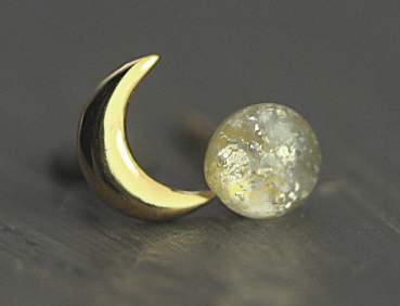 Tiny moon & vintage glass opal stud earrings. Gold over sterling.