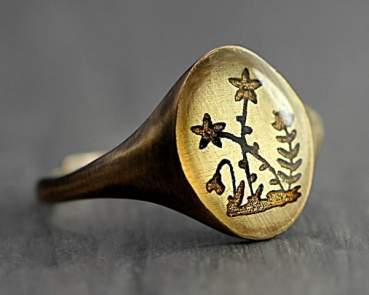 Vintage Wildflower Signet Ring