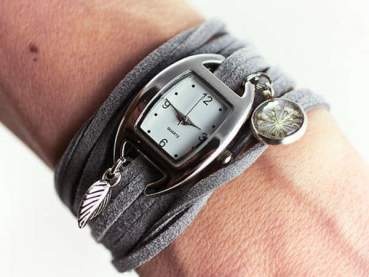 Wrap Watch With Real Flower Charm - Grey Suede