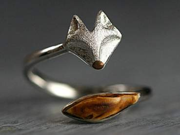 925 Sterling and oak wood wrap fox ring