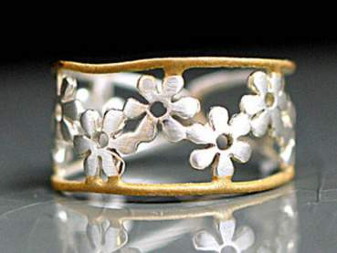 925 bicolor flower ring - sterling  gold plated