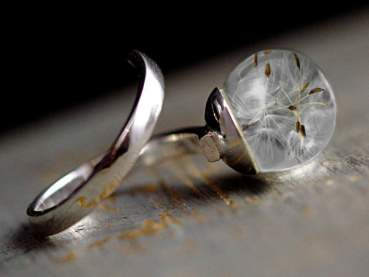 Sterling real dandelion wrap ring