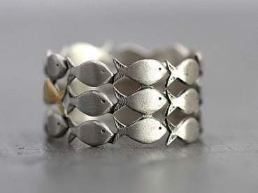 925 sterling silver FISH ring.