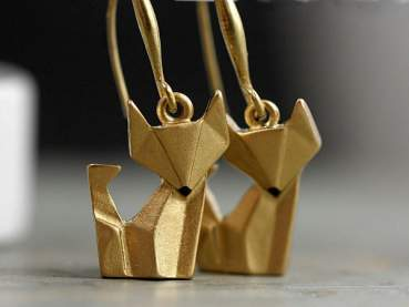 Handgilded Origami Fox Earrings