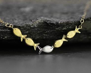 Swimming against the current. Dainty gold filled necklace