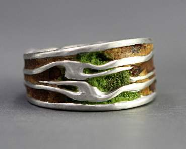 Sterling Tree Bark ring with wood and moss