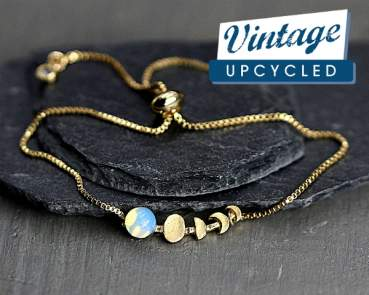 Moon Phase bracelet. Hand gilded gold & glass opal