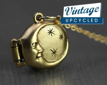 Dainty vintage moon & stars locket