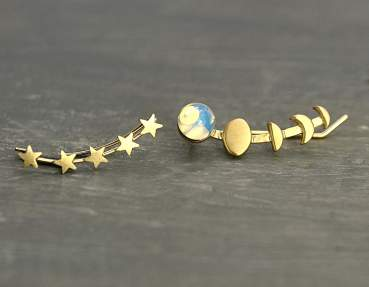 Moon & star ear climbers. Gold plated sterling. Ear crawler with vintage glass opal. Mismatched earrings.