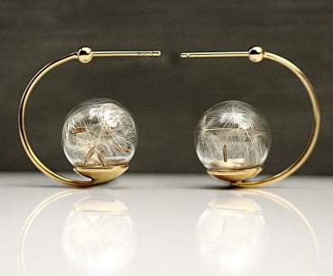 Real dandelion lantern earrings sterling gold plated