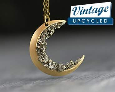 Crushed pyrite and vintage moon necklace