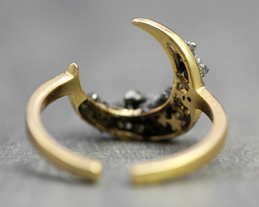 Crushed crystal pyrite sterling silver gold plated moon ring