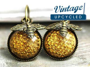 Vintage honeycomb earrings