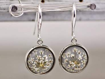 Real dried flower earrings - SILVER GREY II