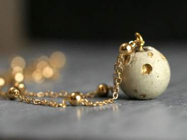 Concrete & Gold solar system necklace