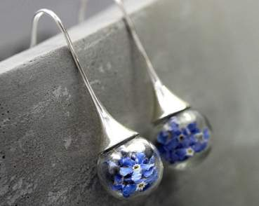 Real Forget Me Not silver drop earrings