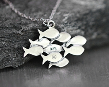 Swimming against the current silver necklace