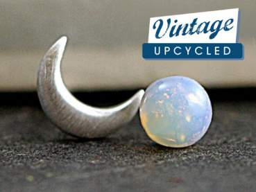 STERLING Crescent Moon & vintage opal stone studs
