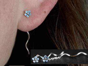 Tiny sterling Forget me Not earrings