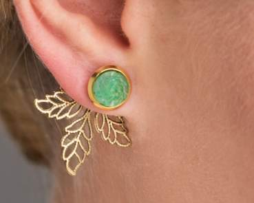 Jade ear jackets. Genuine vintage flower stones