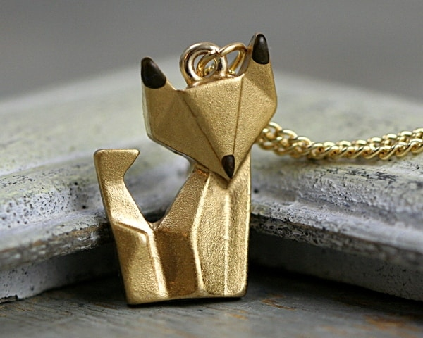 Origami fox necklace. Gold