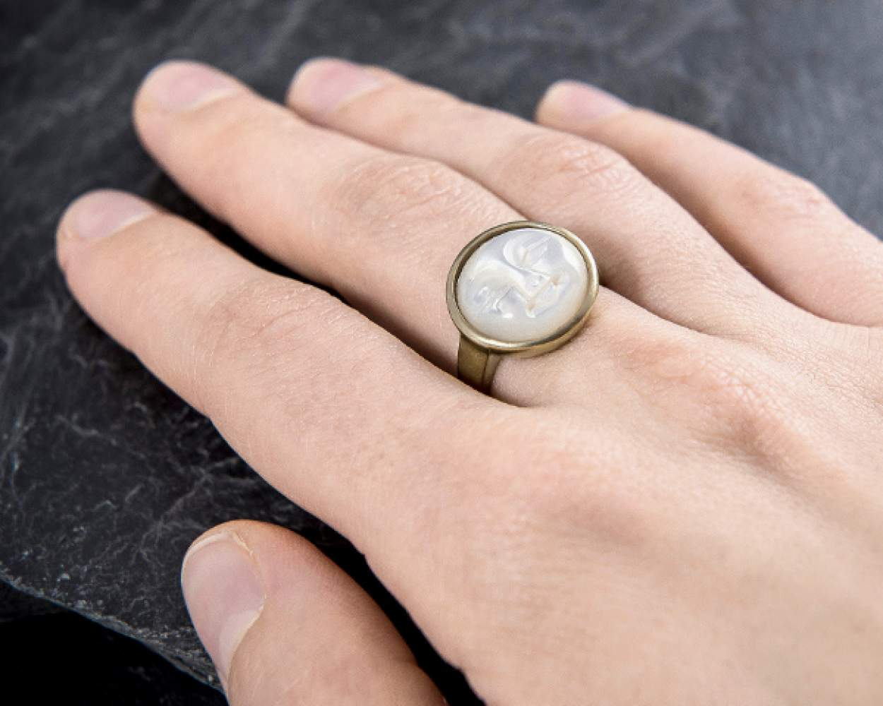 Carved Shell Moon Face Ring