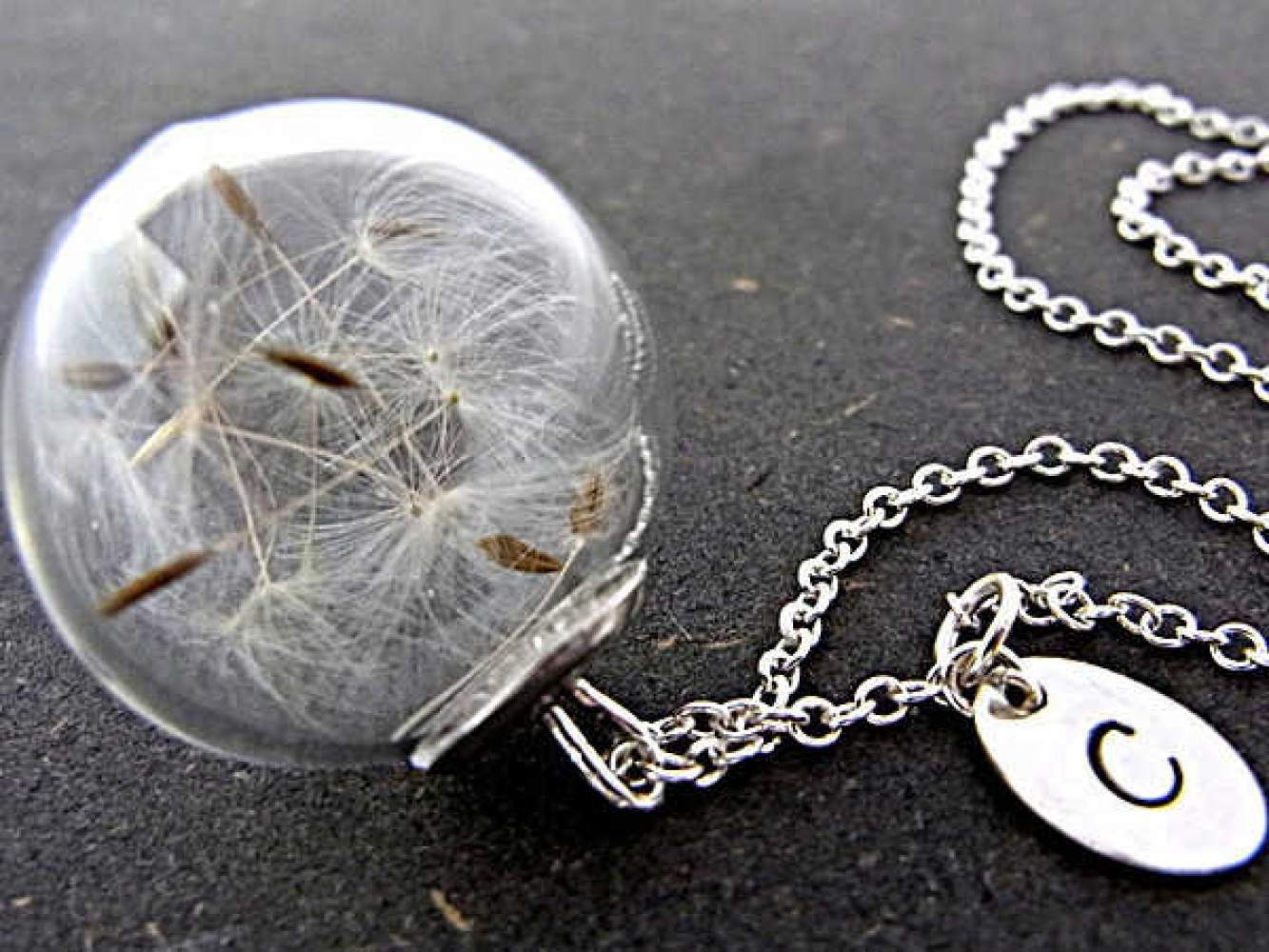Sterling necklace with Real Dandelion Seeds