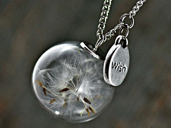 PURE & SIMPLE silver necklace with Real Dandelion