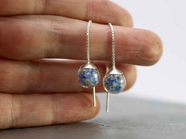 925 Delicate sterling forget me not threader earrings